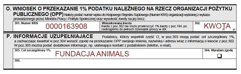 1% - Fundacja Animals