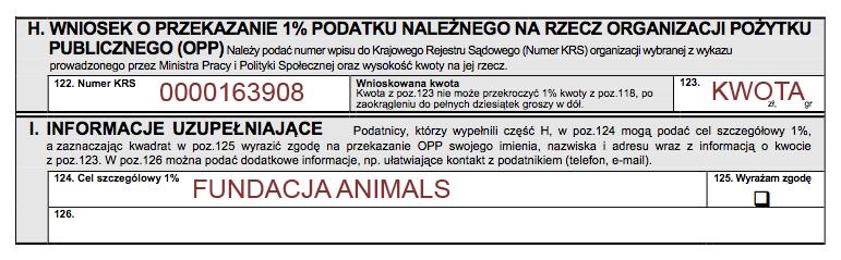 Przekaż 1% Fundacji Animals
